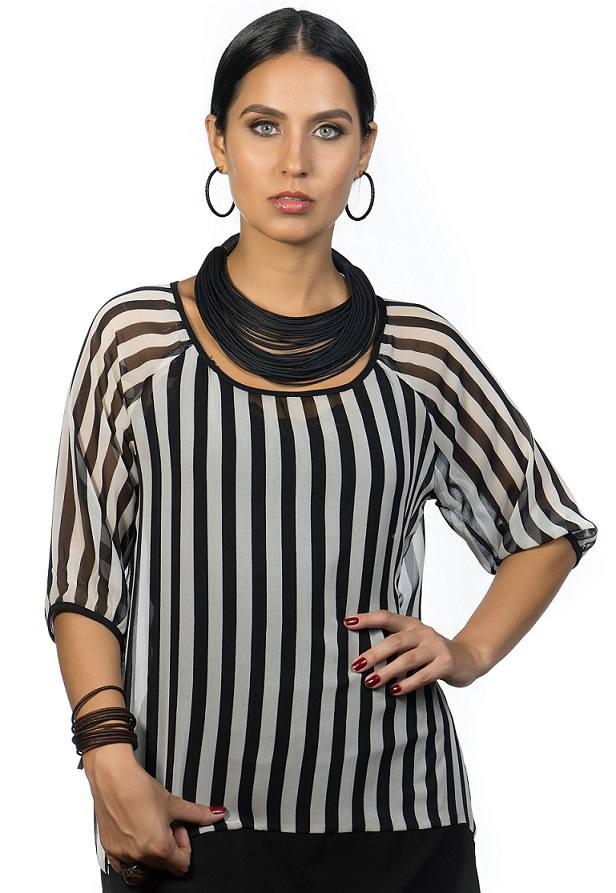 Colar em algodão 35 fios curto cor preto