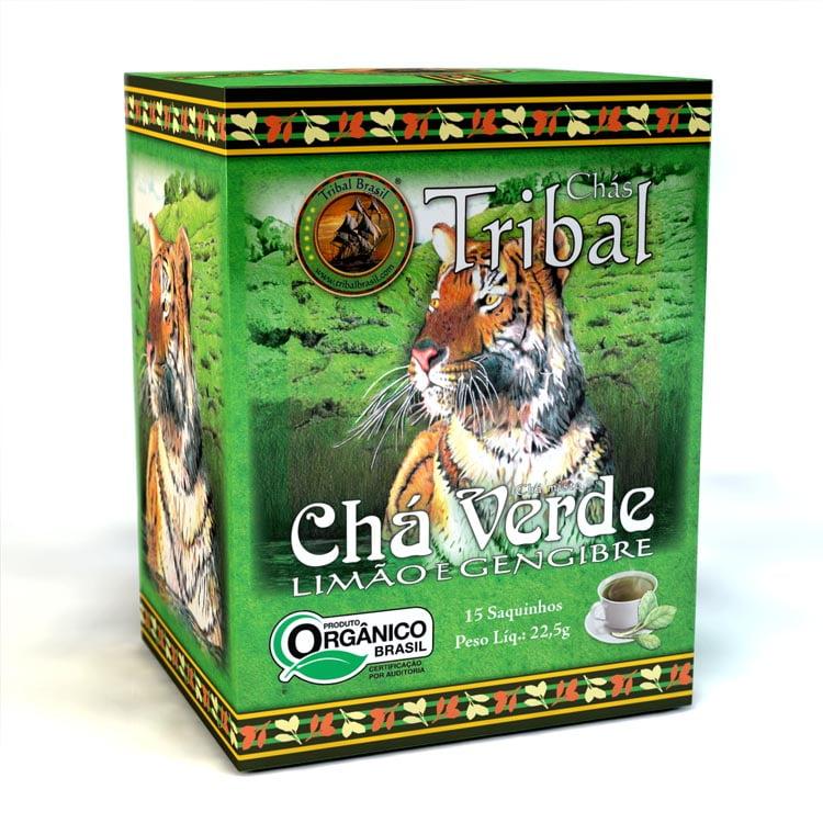 Chá Misto Orgânico - Chá Verde, Limão e Gengibre - Caixa 22,5g - Tribal Brasil