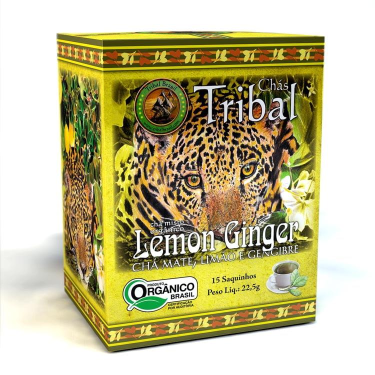 Chá Misto Orgânico Lemon Ginger - Mate, Limão e Gengibre - Caixa 22,5g - Tribal Brasil