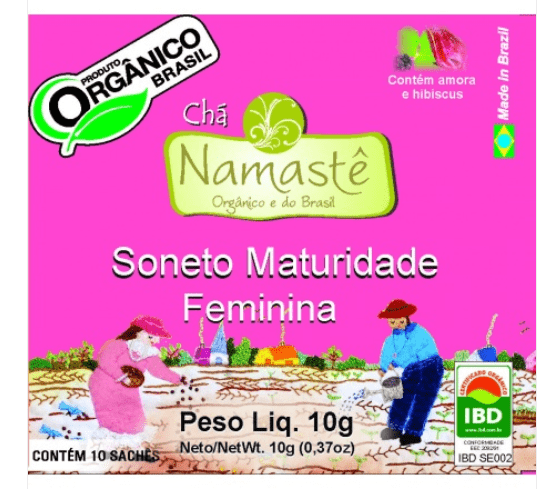 Chá Soneto Maturidade Feminina Orgânico Natural e Vegano Namastê 10 g