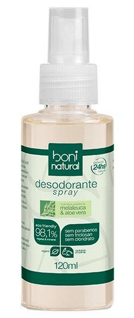 Desodorante Natural e Vegano Spray Perfume suave Boni 120ml