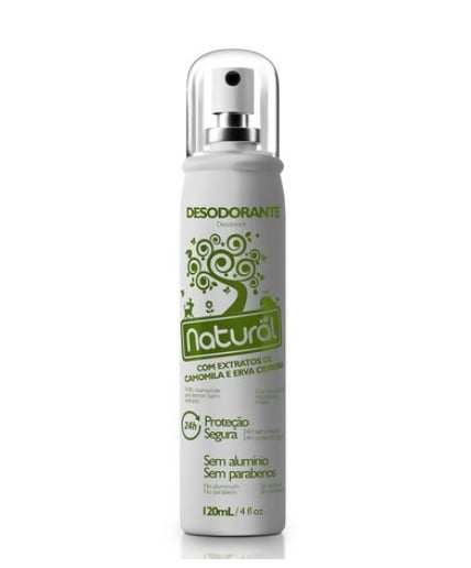 Desodorante Natural Spray com Extratos de Camomila e Erva Cidreira 120mL