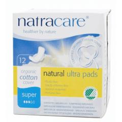 Absorvente Orgânico Natracare Super com abas Ultra Pads com 12 un