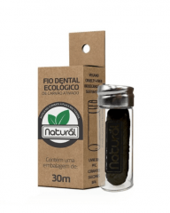 Fio dental ecológico de carvão ativado 30m (com embalagem reutilizável de vidro)