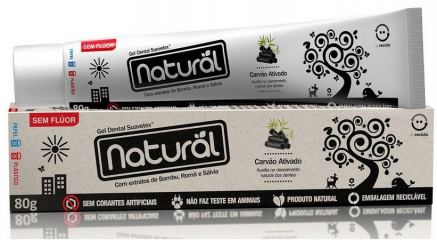 Gel Dental Natural com Extratos de Bambu, Romã, Sálvia e Carvão Ativado 80g