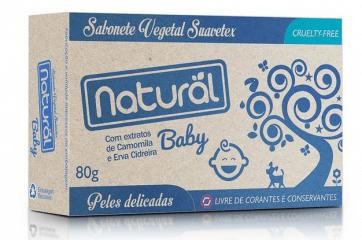Sabonete Natural Suavetex Baby com Extratos de Camomila e Erva Cidreira 80g